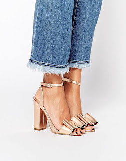 Asos metallic block heel ankle strap shoes with bow