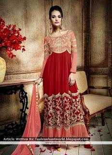 Red Party Wear Georgette Anarkali Dresses / Stunning Jacquard Pink Churidar Designer Suits