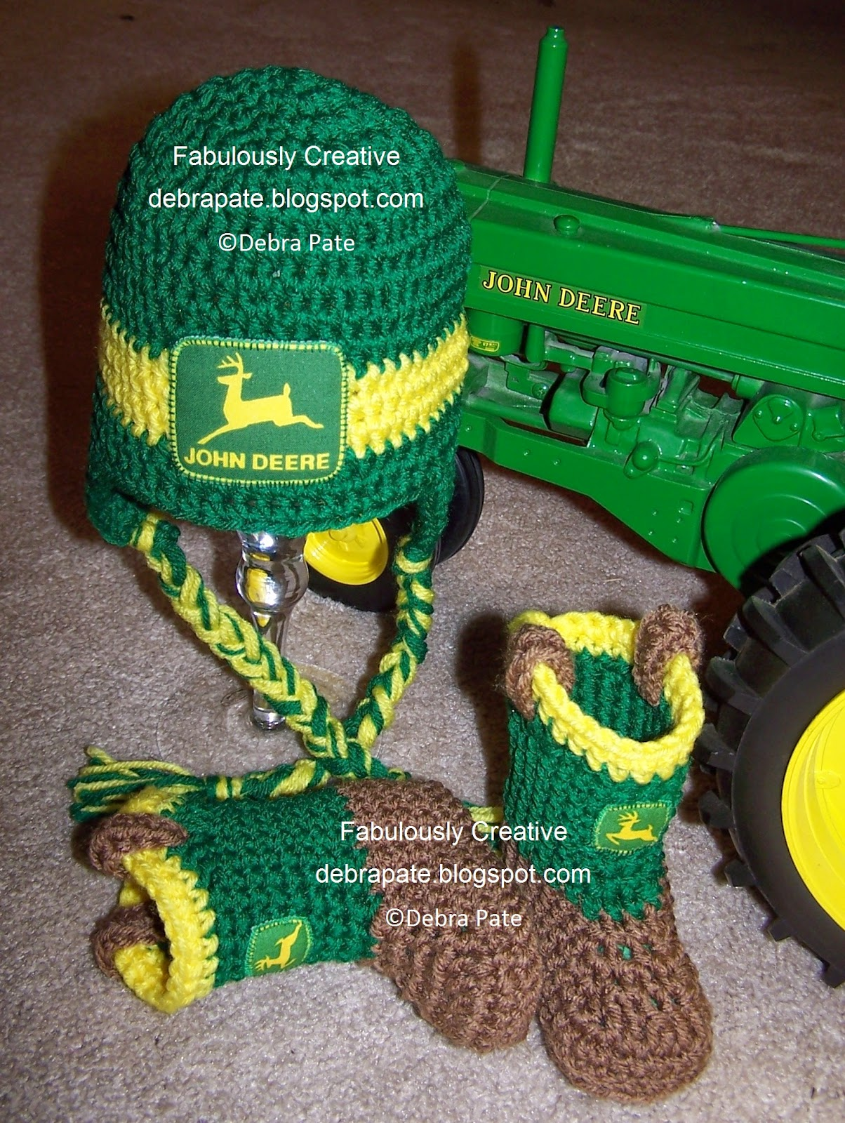 I just knew I had to use Milton s John Deere tractor for a photo prop when  I made the John Deere inspired hat and boots. He said he almost drove the  tractor ... d5719ff3643