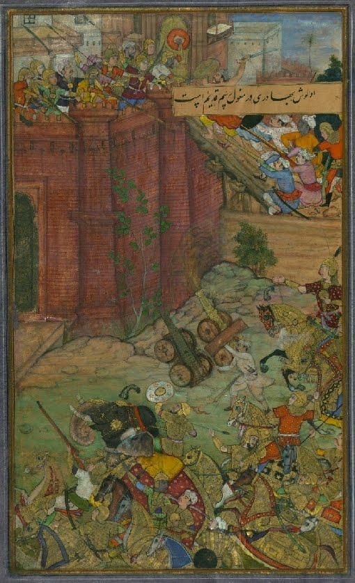 Indian mughal miniature of castle siege