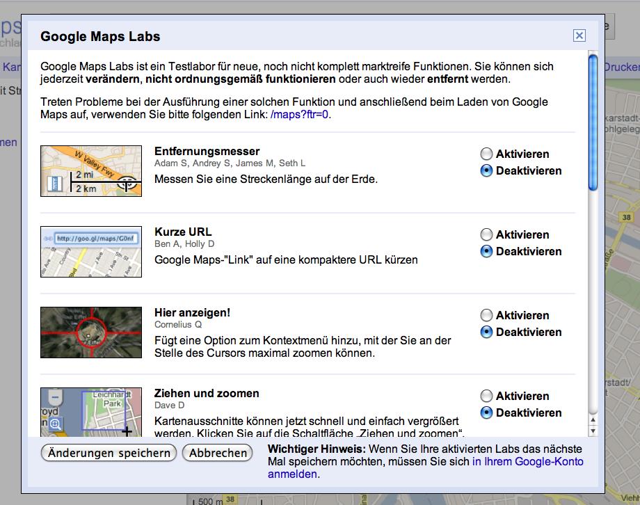 Google Maps Labs Uebersicht
