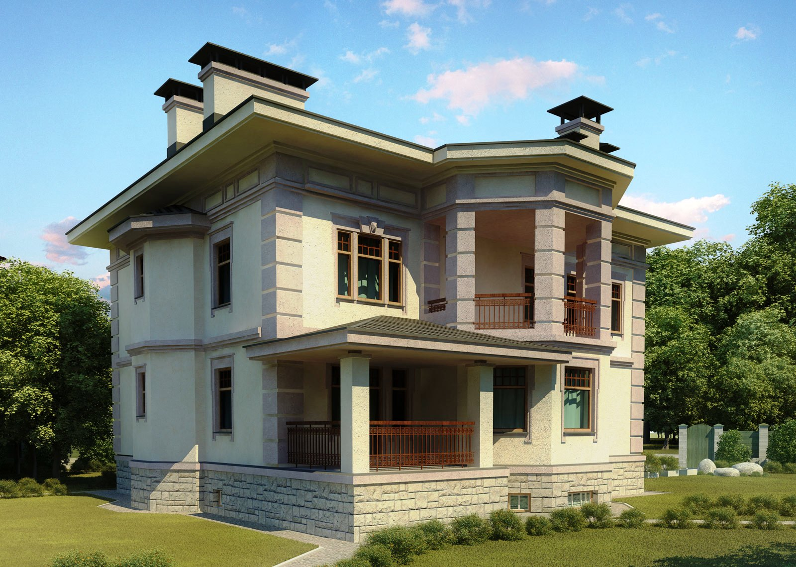 3d front europe 3d design house front elevation for Small frontage house designs