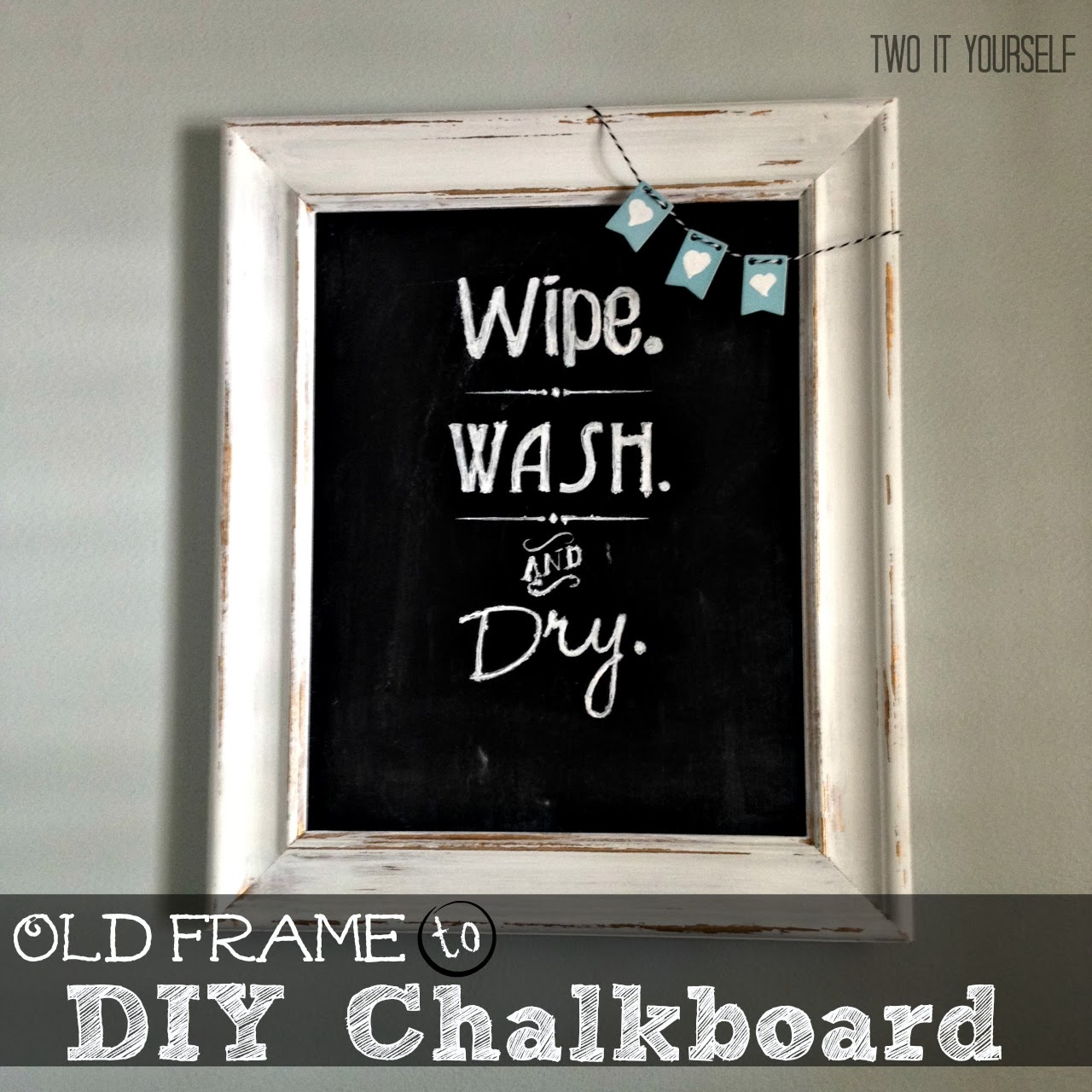 Two it yourself bathroom wall art old picture frame to chalkboard solutioingenieria Gallery