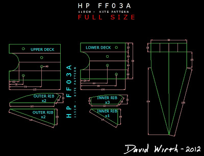 AutoCAD pattern for flowform kite, HP FF03A, dimensions, printable, print