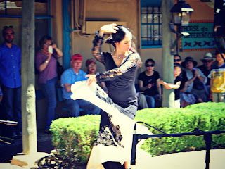 Flamenco dancer performing during Founder's Day in Old Town, Albuquerque, New Mexico