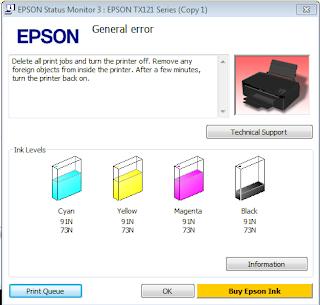 cara memperbaiki printer epson general error