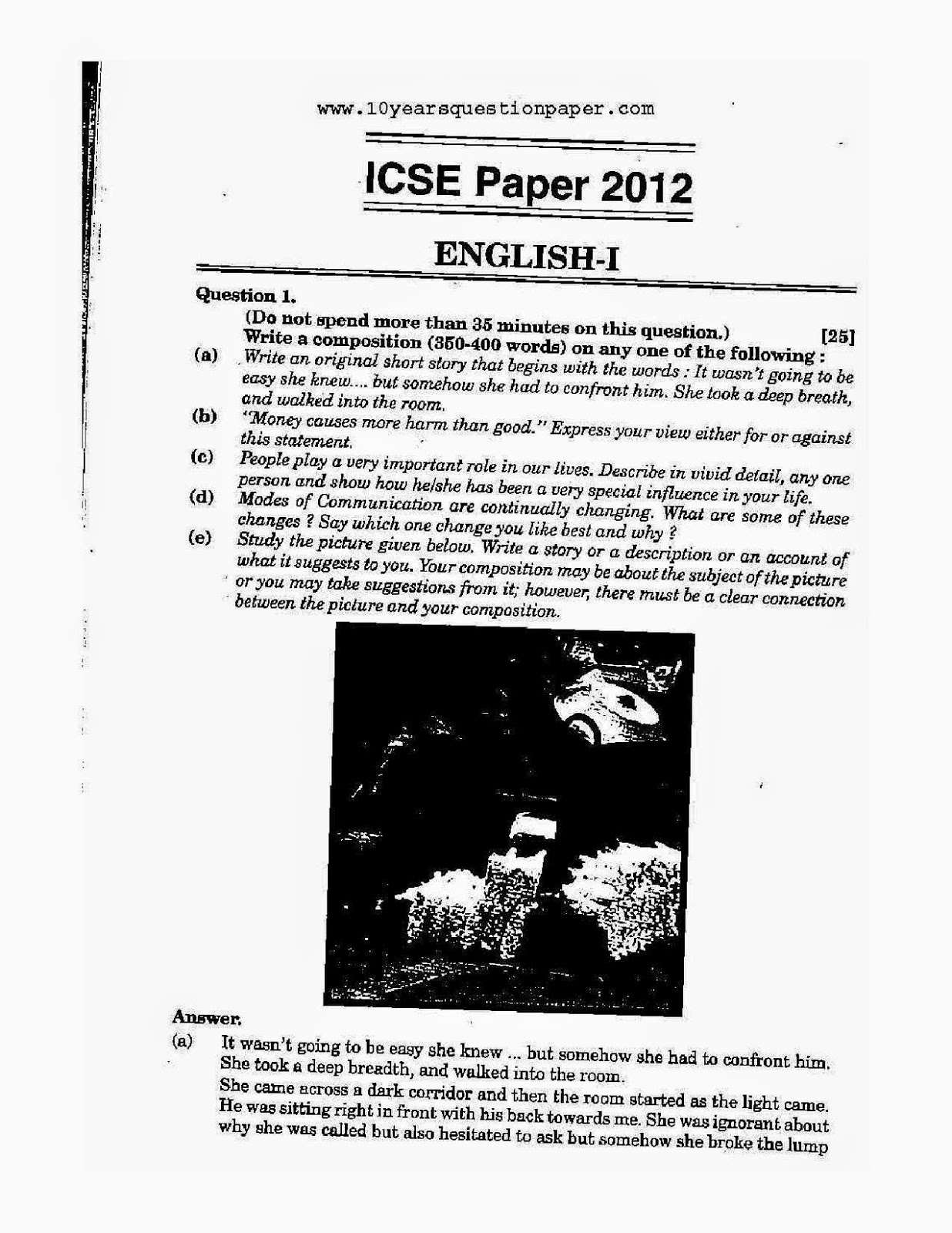 Icse class 10th English Language solved question paper 2012