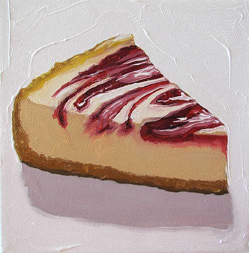 "Strawberry Swirl Cheesecake #1"" -- oil on canvas 6x6"" -- Margie Guyot"