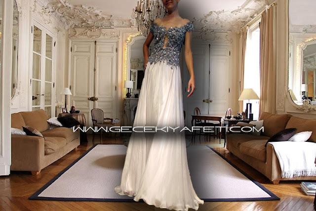 Özel Tasarım Transparan İşlemeli Gece Elbisesi