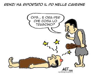 Bersani, Renzi, PD, vignetta, satira