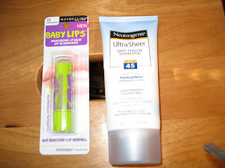 Maybeline Baby Lips, Maybeline Baby Lips Peppermint, Peppermint Lip Balm, Neutrogena Ultra Sheer Dry Touch Sunblock