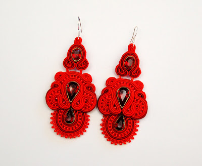 kolczyki sutasz soutache earrings 58 red