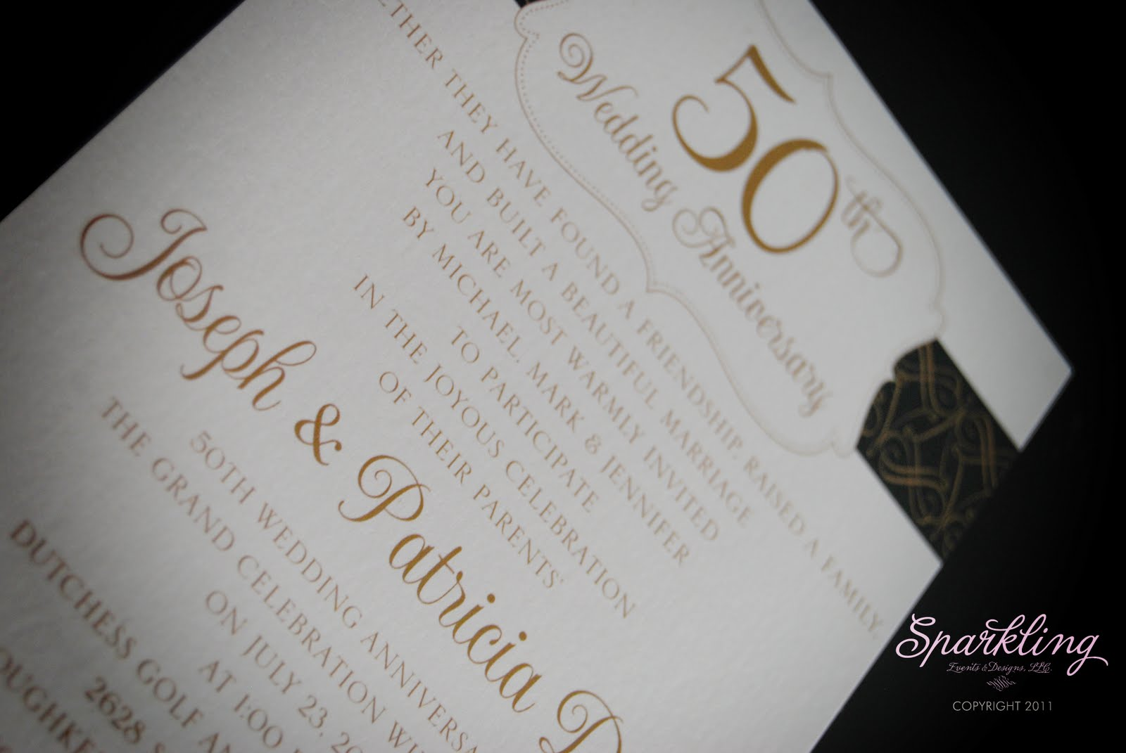 real invitations golden 50th wedding anniversary invitations