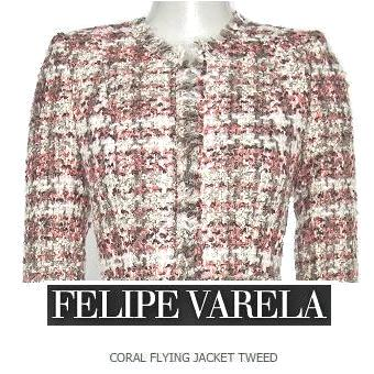 FELIPE VARELA - Coral Flying Jacket Tweed - Queen Letizia
