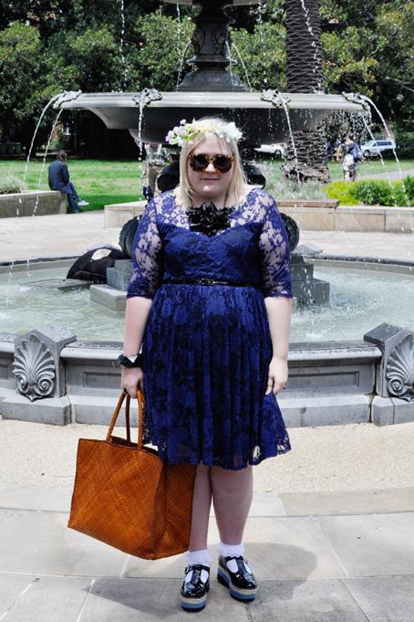City Chic Blue Dress City Chic Lace Dancer Dress