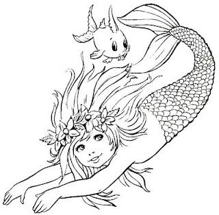 Desenhos do Folclore - Sereia Iara - Colorir e Pintar