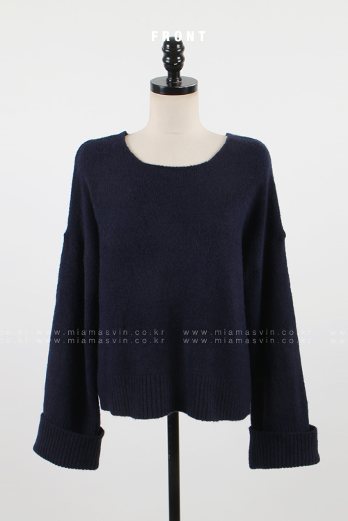 Boxy Knit Pullover with Rolled Cuffs