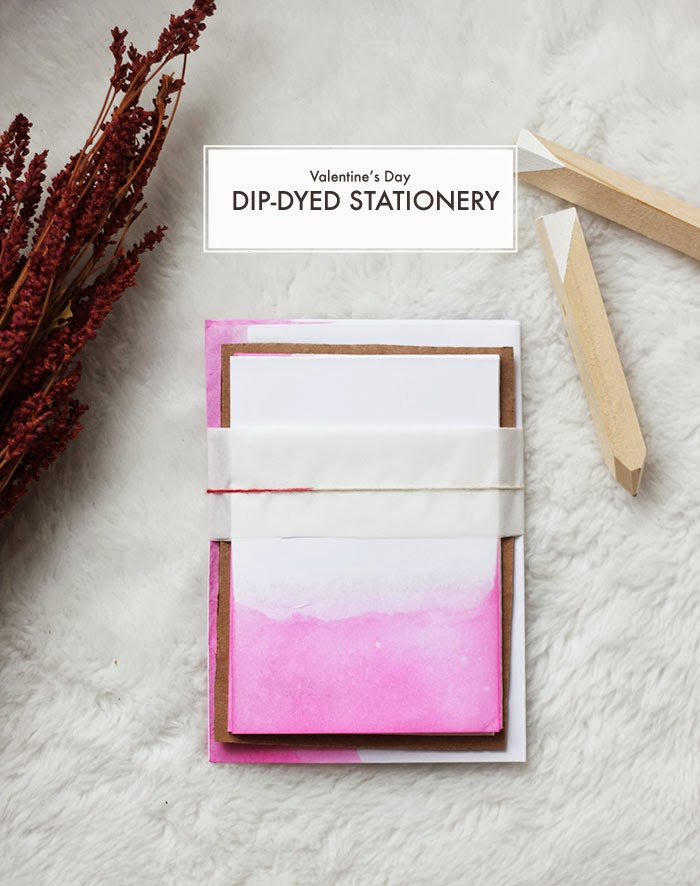 Dip Dyed Valentine's Day Stationery