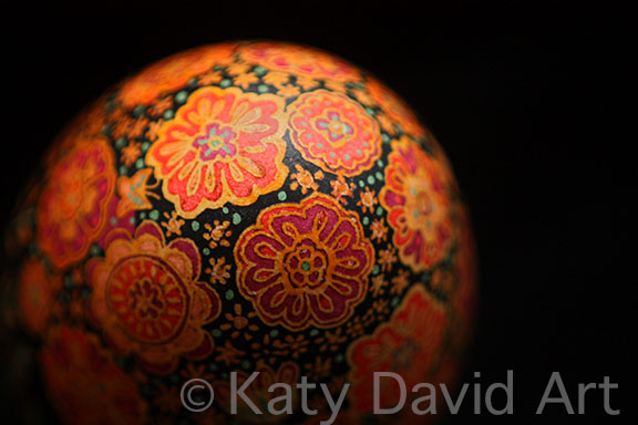 Friday Egg Persian Flowers in Sunset Colors Batiked Eggshell