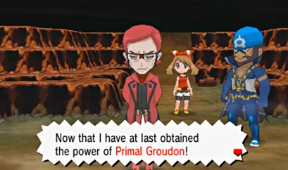 Maxie, triumphant, unleashes Groudon from its slumber. He's kinda stupid.