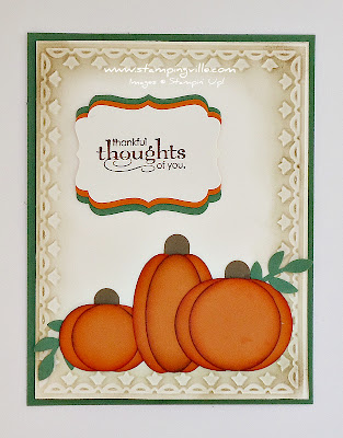 Hand Stamped Greeting Card with Punch Art Pumpkins