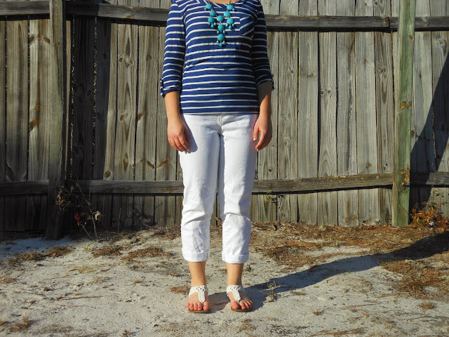 Nautical Stripes. Navy and white striped top, white boyfriend jeans, blue bubble necklace, white sandals. http://mybowsandclothes.blogspot.com/. #nautical #stripes #outfit #BowsandClothes