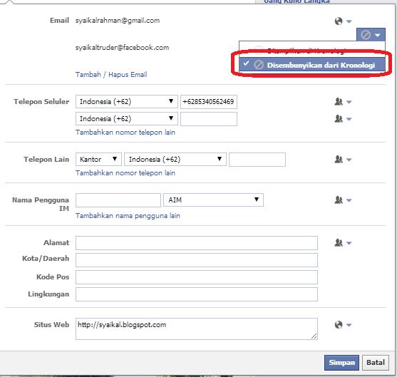 cara menyembunyikan alamat email kita di facebook terbaru ...