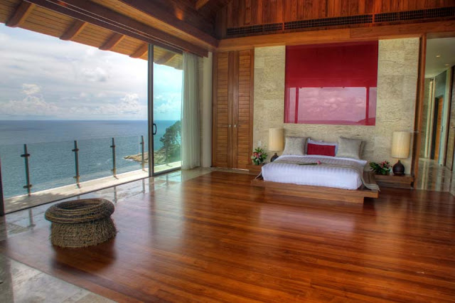 Large modern thai bedroom with the balcony