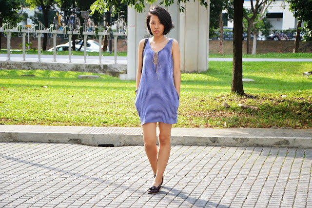 Jersey blue striped dress, uniqlo dress, charlotte ronson dress