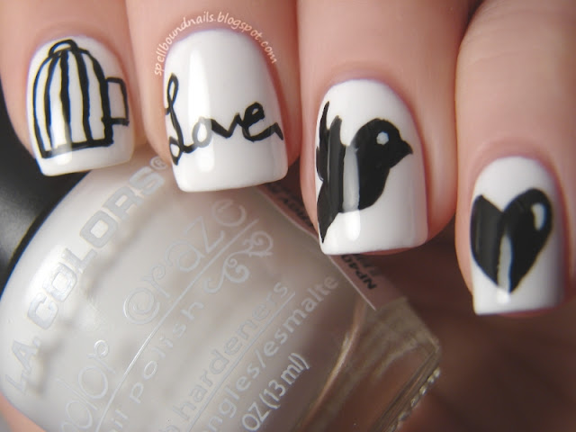 nails nailart nail art polish mani manicure Spellbound Lacquer ABC Challenge letter W is for Wings of Love bird cage birdcage caged bird love cursive flying fly away heart hearts black white LA Colors Energy Source Petites Night elegant sweet holiday Valentine's Day design