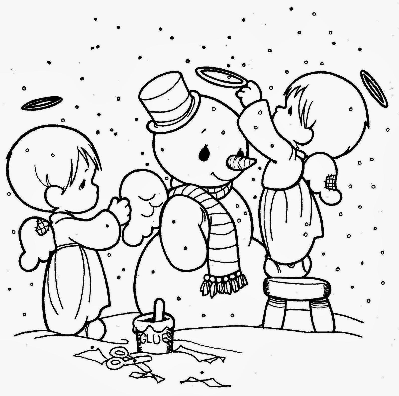 Moderno Muñeco De Nieve Gratis Para Colorear Bosquejo - Dibujos Para ...