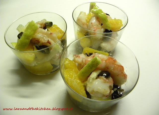gamberi, insalata di mare, cedro