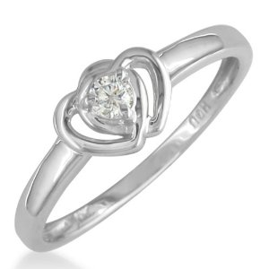 Diamond Heart Promise Rings Sterling Silver .07ct