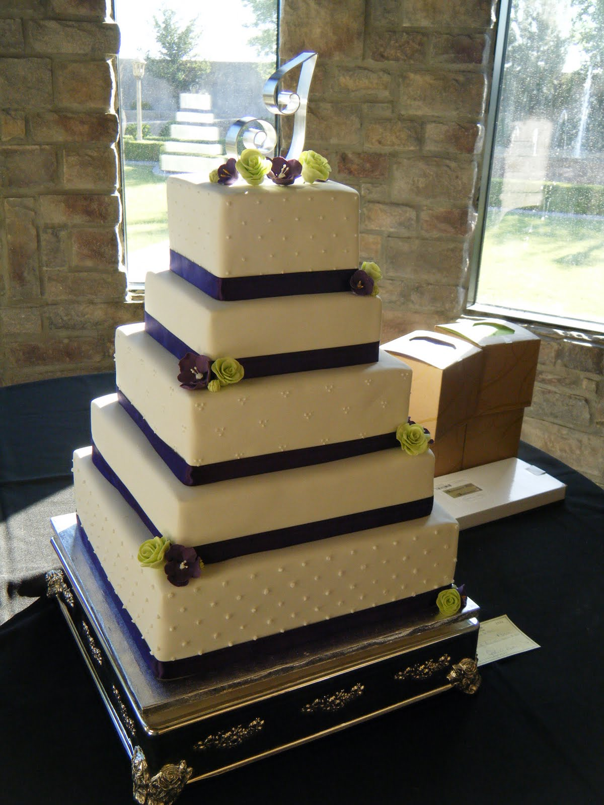 Cassy s Cakes Purple and green square wedding cake