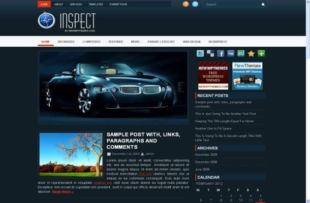 Free Dark Abstract Blue Wordpress Theme Template