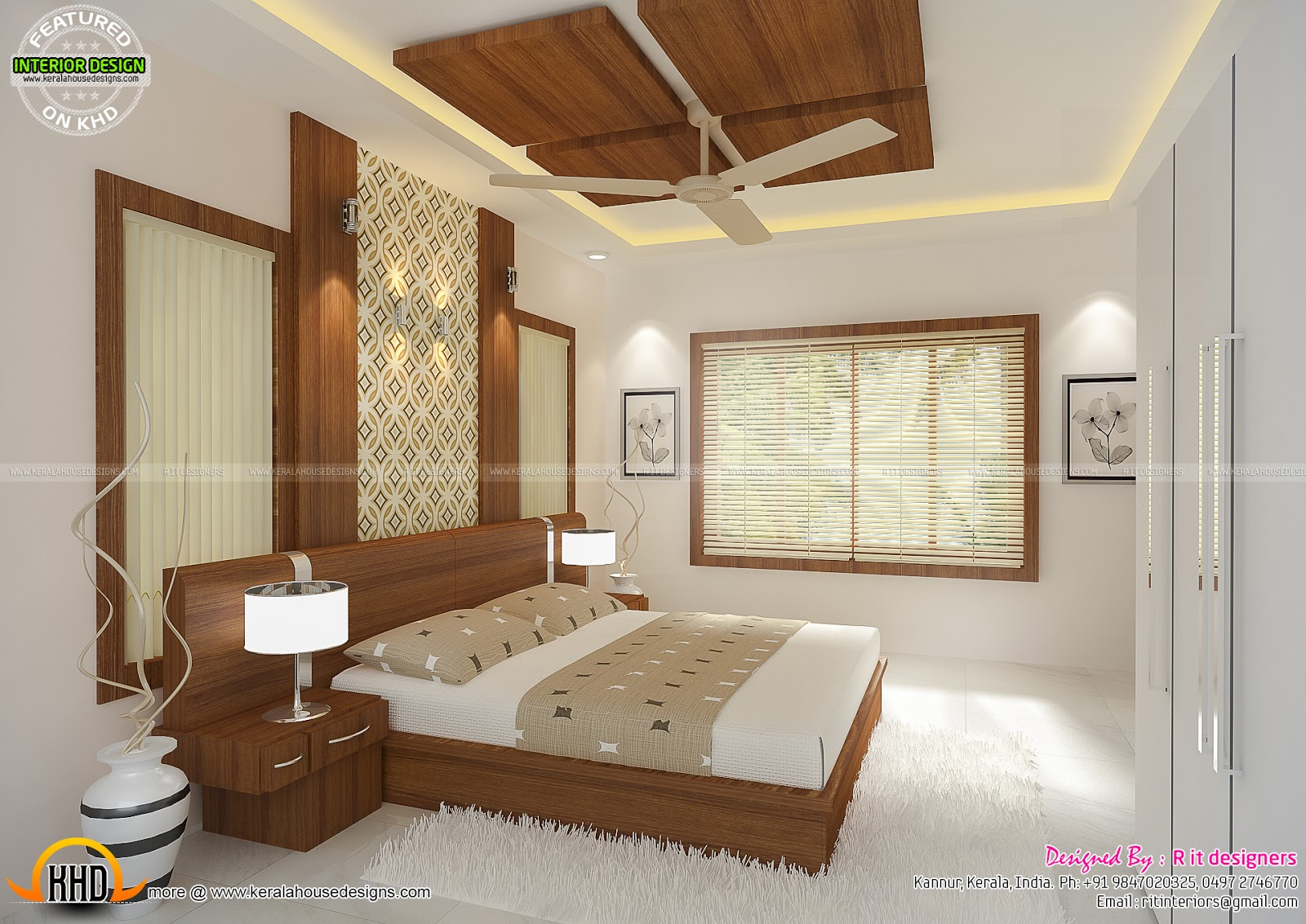 Interiors of bedrooms and kitchen kerala home design and for Bedroom interior design india