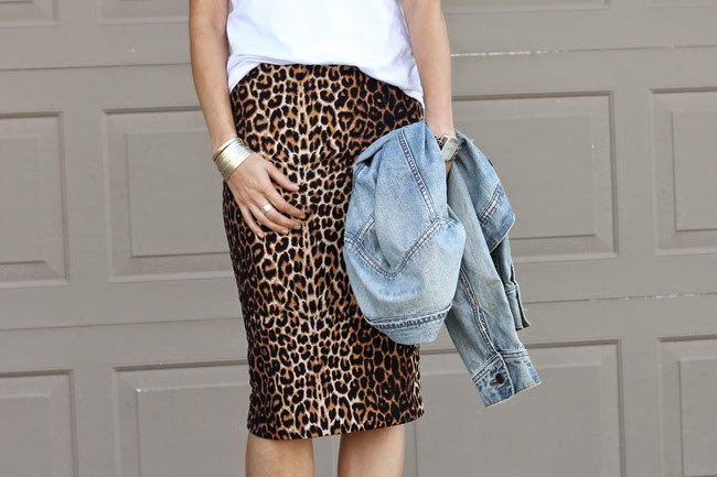 Leopard pencil skirt, white tee, and strappy ankle boots