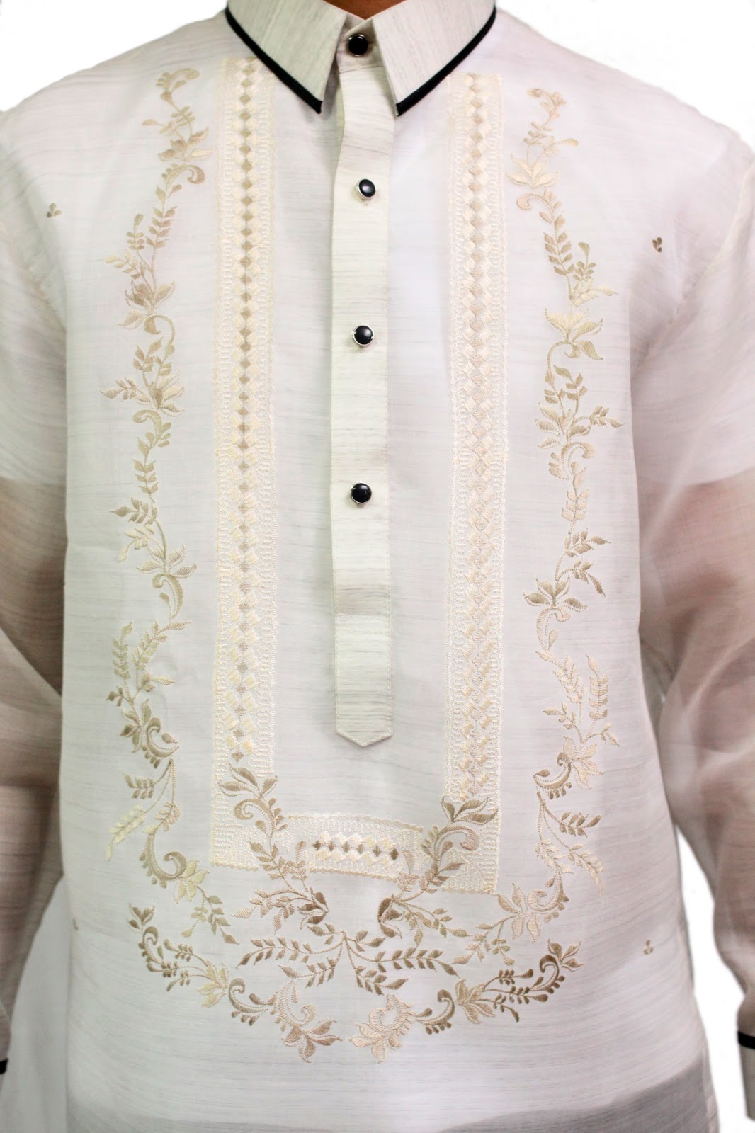 barong tagalog Made out of jusi, this barong has a precise and intricate embroidery with a chinese collar.