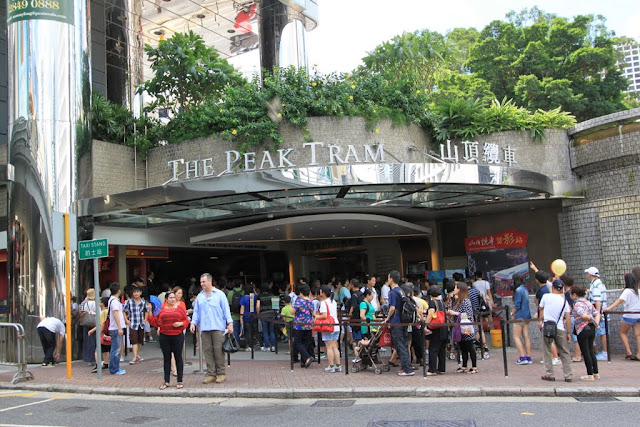 The front entrance of Peak Tram which is always crowded at Central, Hong Kong