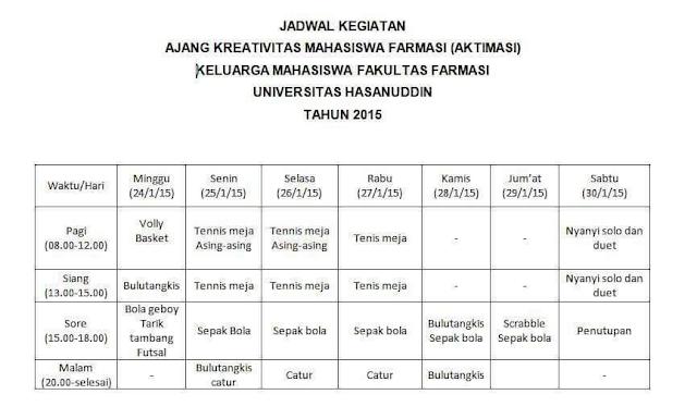 Jadwal AKTIMASI 2016