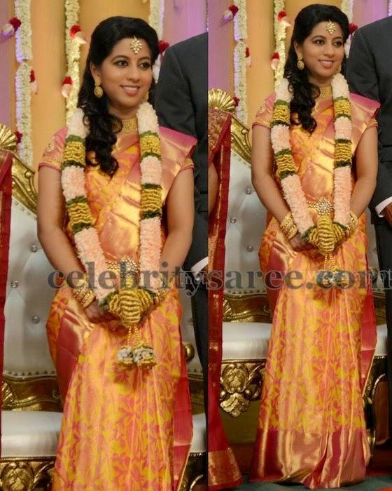 Bride in Yellow and Peach Silk Saree