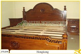 Tempat tidur ukiran kayu jati Jepara Hongkong