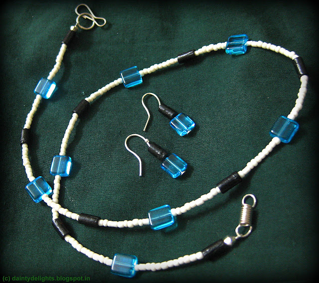 sky blue square glass necklace and earrings
