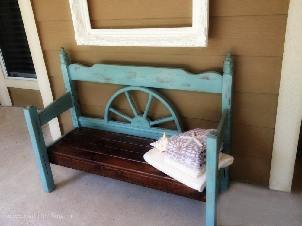 Nice Nautical Beachy Headboard Bench Makeover with Annie Sloan Chalk Paint and Minwax Stain via Curb Alert