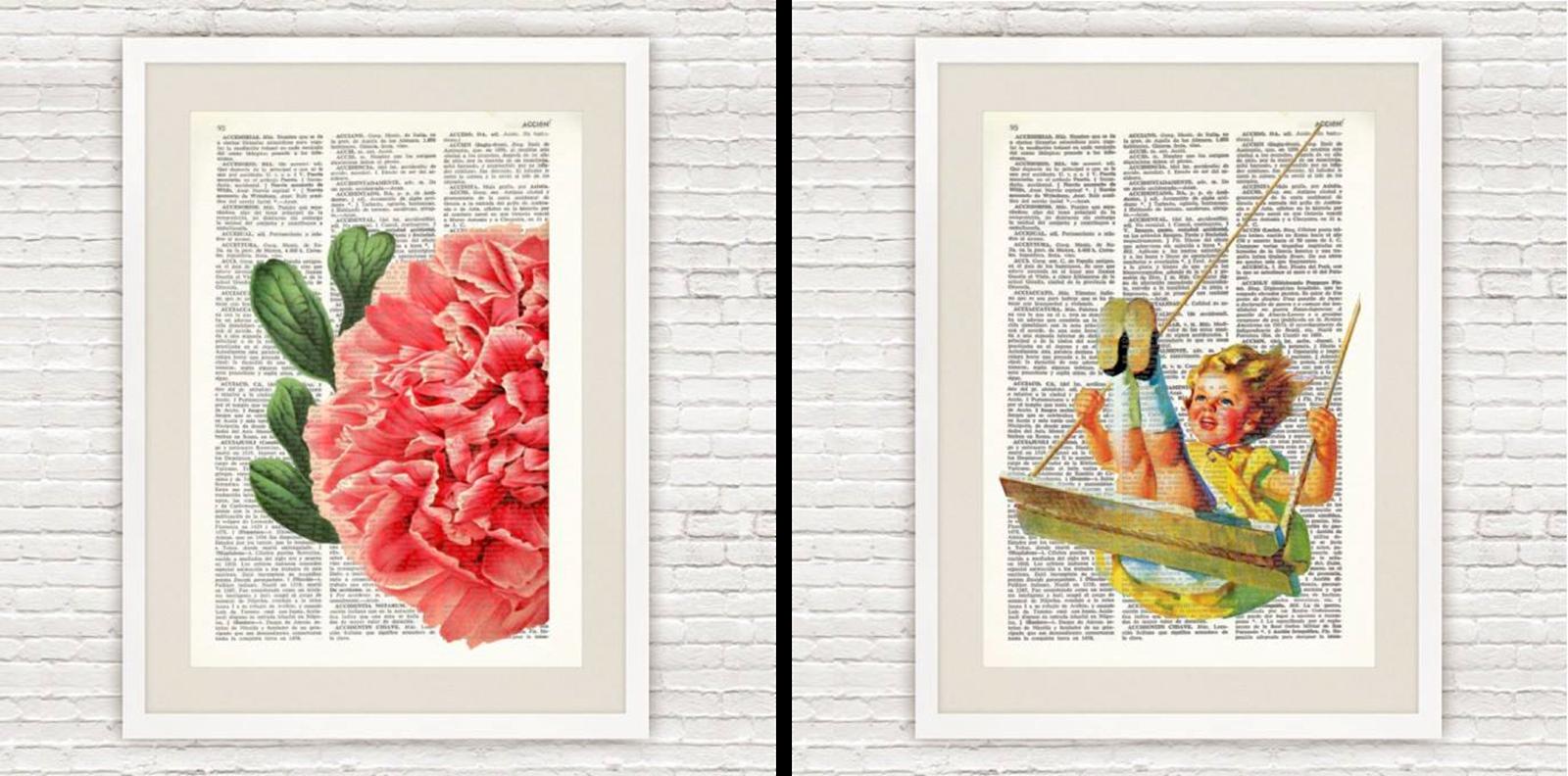 Decoraci n f cil laminas vintage realizadas a partir de for Libros antiguos para decoracion