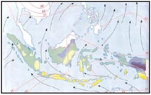 Peta arah angin muson timur (Sumber: Atlas Geografi Indonesia dan Dunia, Pustaka Ilmu)