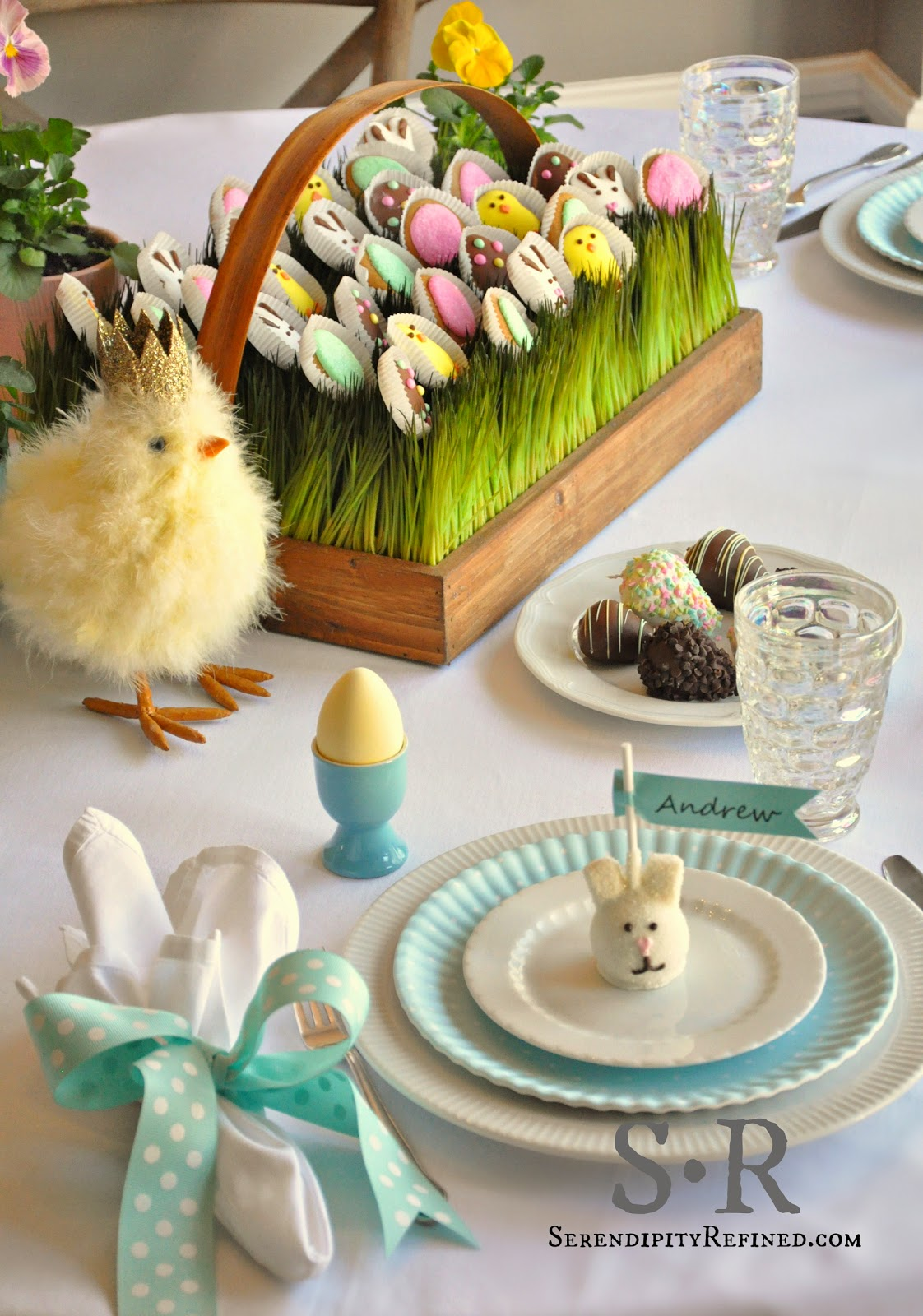 Serendipity refined blog pastel spring edible easter table decorating - Table easter decorations ...