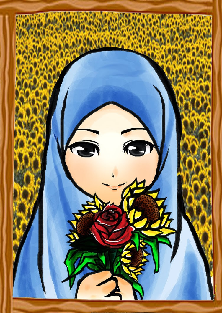 Gambar Lukisan Kartun Muslimah - Download