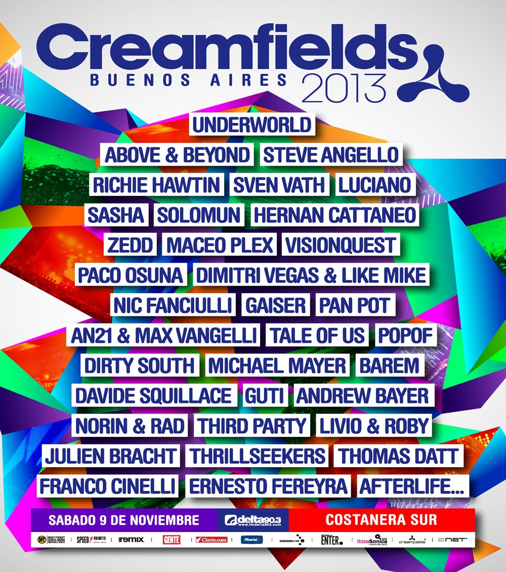 Creamfields Buenos Aires 2013, 9 NOV.