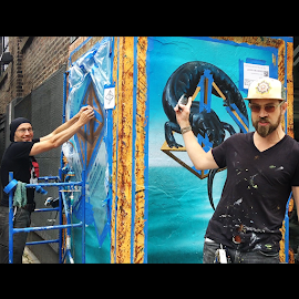 Soho House street art mural in process @Jason Brammer @JeMcPhillips